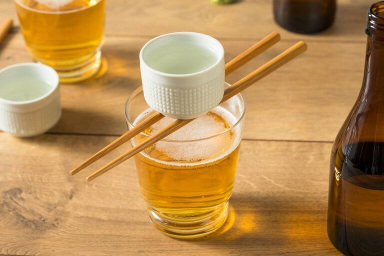 Alcoholic Japanese Sakebombs with Rice Wine