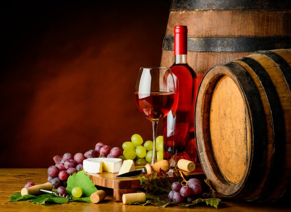 Rose Wine, Grapes and Cheese